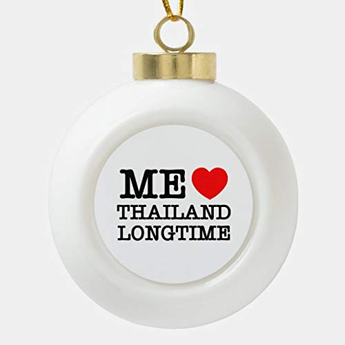 Dom576son Christmas Ball Ornaments, ME LOVE THAILAND LONGTIME CERAMIC BALL CHRISTMAS ORNAMENT, Shatterproof Christmas Decorations Tree Balls for Holiday Wedding Party Decoration