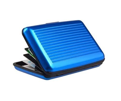 Clamour Stores Cartera con Bloqueo RFID [8 Ranuras | Aluminio] Identificación portátil de Identidad de Viaje | Tarjetero para Tarjetas de crédito con protección Segura para Hombres y Mujeres (Azul)