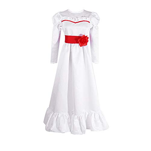 Alisoya Annabelle Cosplay Disfraz de Halloween Horror Scary Role Play Vestido Blanco de Manga Larga Rosa Roja Pajarita Vestido Largo para Mujeres Niños