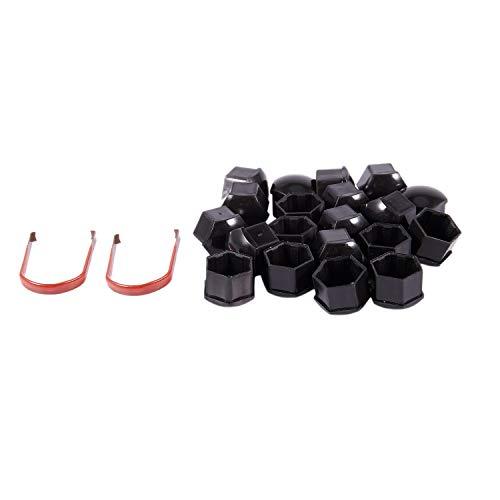 Senmubery 20Pcs Tapas De Plástico del Coche De 17 Mm Pernos Cubiertas Ruedas De Aleación para, Mercedes, Color: Negro