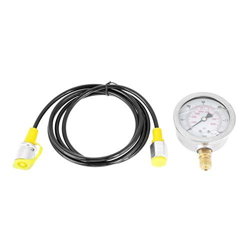 EVTSCAN Ultimo punto di prova del tubo flessibile idraulico Accoppiamento M16 * 2-BSP1 / 4 + 0~600BAR / 8500PSI Manometro + tubo