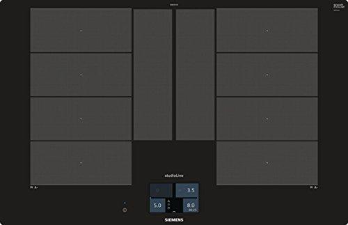 Siemens EX801KYW1E iQ700 Kochfeld / 79,2 cm / WLAN-fähig mit Home Connect / VarioInduktion Plus / varioMotion / Brat-Sensor Plus mit 5 Temperaturstufen / Schwarz