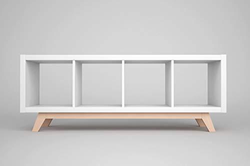 New Swedish Design Kallax Regal Untergestell, Holzgestell aus echter massiver Buche, für Kallax-Breite: 4 Regalfächer, schräge Möbelfüße, Füsse f. Sideboard Lowboard skandinavisch