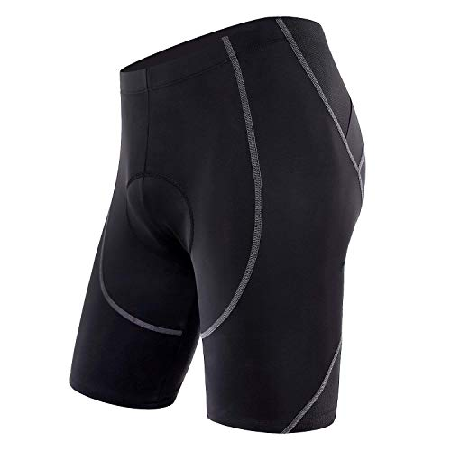 Sportneer Men's Cycling Shorts Biking Bike Bicycle Pants Half Pants 4D Coolmax Padded, Comfort, Breathable & Absorbent Black
