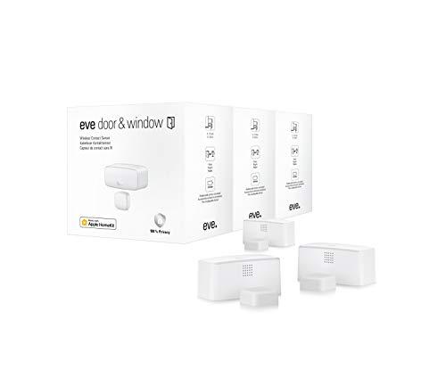 Eve Door & Window, 3 Unidades - sensores de Contacto Inteligentes para Puertas y Ventanas, Mensajes (Cerrados, Abiertos), no Requiere Puente, Bluetooth/Thread, HomeKit