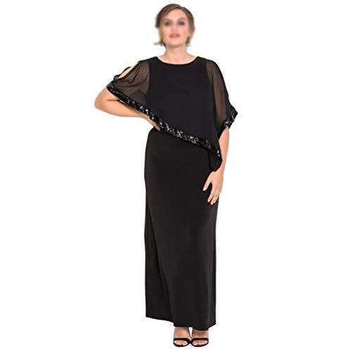 Vrouwen zomer nieuwe jurk tule sjaal ronde hals lange jurk,Black,1X
