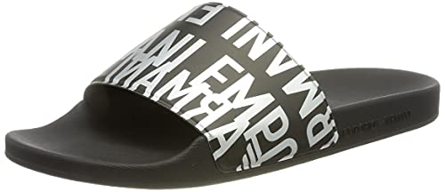 Emporio Armani Herren Swimwear Slipper Glazed Metal Slide Sandal, Black+Silver+Black, 43 EU