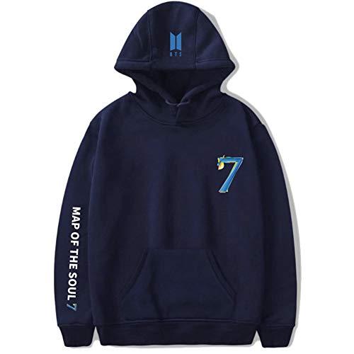 Kpop BTS Map of the soul 7 Hoodie Sweatshirt Jimin Jungkook Suga V Sweater Hoodie New Album Jacket black (Navy blue, X-Large)