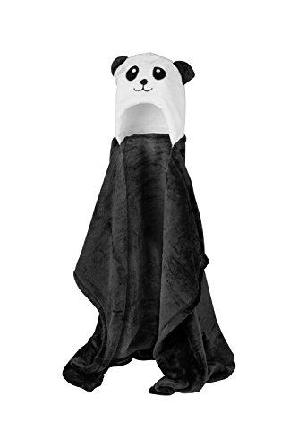 Lexikind Kapuzenhandtuch Baby: Mikrofaser Bademantel - Babyhandtuch mit Kapuze (Panda schwarz-weiß)