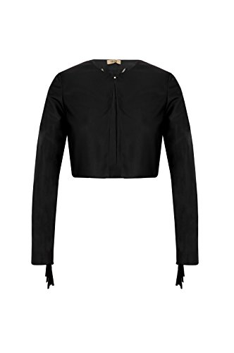 Liu Jo - Chaqueta con flecos para mujer, modelo I18197E0225, color negro Negro 40