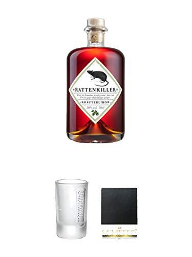Rattenkiller Kräuterlikör 0,7 Liter + Jägermeister Frozen Club Shot Glas 2 cl 1 Stück + Schiefer Glasuntersetzer eckig ca. 9,5 cm Durchmesser
