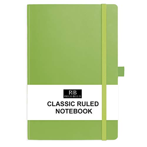 RICCO BELLO College Ruled Hardcover Journal - Vegan Leather, Elastic Closure, Pen Loop, Bookmark, Inner Pocket, 192 Lined Pages, 5.7 x 8.4 inches (Lime Green)