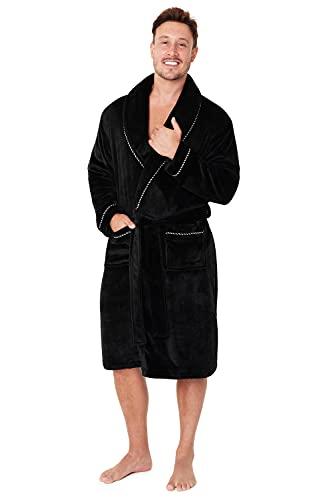 CityComfort Bademantel Herren Flauschig, Morgenmantel Herren, Fleece Dressing Gown Men, M-2XL (Schwarz, XXL)