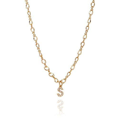 FQSCX Necklace Pendant Jewelry Dainty Necklace Gold Silver Color Letter Name Choker Necklace for Women Pendant Jewelry Gift Silver R