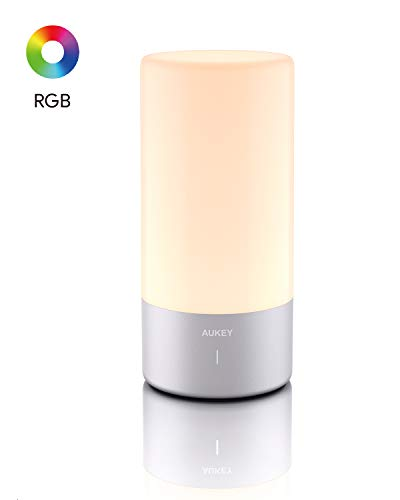 AUKEY Table Lamp Touch Sensor Bedside Lamp Color Changing RGB & Dimmable Warm White Light Night Light for or Bedrooms, Living Rooms and Office【2020 Updated Version】