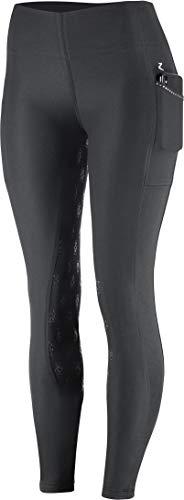 Horze Leah Reithose für Damen, enge Passform, Vollbesatz aus Silikon, UV-Schutz, damen, Black(BL), 50