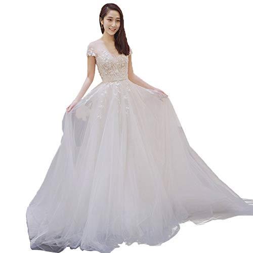 YT-ER Langes Hochzeitskleid Der Prinzessin Wundervolles Bodenlanges Einfaches Rückseitiges Kleid des Schleppenden Hochzeitsengels Der Prinzessinperspektive, Trailing, m