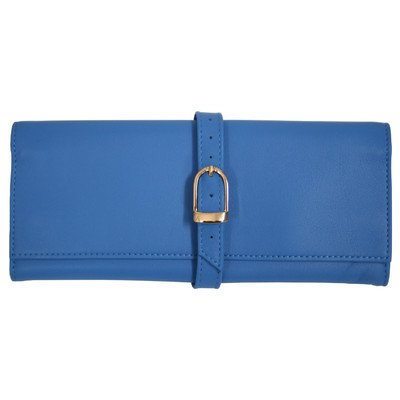 Royce Leather Suede Lined Jewelry Roll Travel Case in Genuine Leather Color: Royce Blue