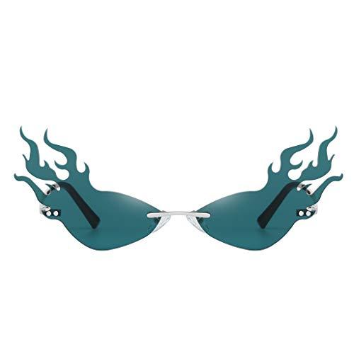 Frauen Sonnenbrillen- Creative Flamme Form Sonnenbrille Damen Herren Metall Brillenfassungen, Mode Vintage Punk-Stil Sonnenbrille (C)