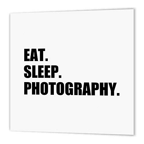 3dRose ht_180427_3 Eat Sleep Photography-Gift for Photographer Shooting Fans Black Text-Iron on Heat Transfer Paper for White Material, 10 by 10-Inch