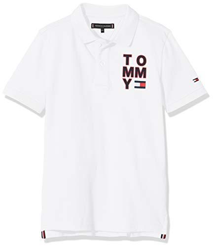 Tommy Hilfiger Jungen Graphic F/b Polo S/s Poloshirt, Weiß (White Yaf), (Herstellergröße: 152)