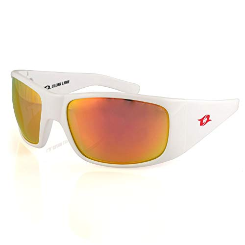 Clear Lake Montana Polarized Polycarbonate Sports Sunglasses for Fishing Running Cycling (White/Red)