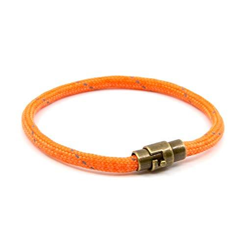 Lobo Verde Handmade Paracord Rope Bracelet with Magnetic Copper Clasp (Orange, 8)