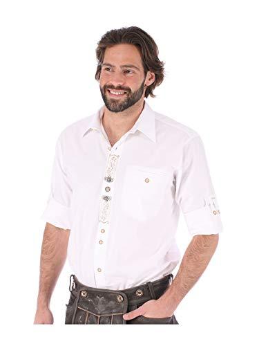 orbis Textil OS-Trachten Trachtenhemd Krempelarm Sticklegende Benno Weiss, 5XL