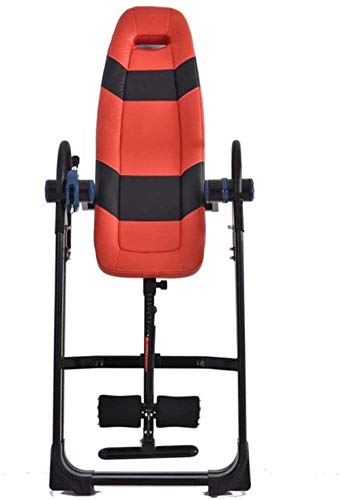 Daily Equipment Fitness Indoor Aerobic Fitness Inversion Equipment Premium Foldable Gravity Inversion Table Waist Inflatable Adjustment With Protective Belt Back Therapy Fitness (Color : Red Size :