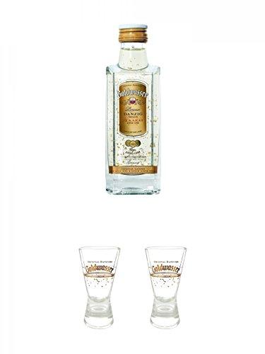 Danziger Goldwasser Likör 5 cl MINIATUR + Der Lachs Danziger Goldwasser Shotglas 2 cl 1 Stück + Der Lachs Danziger Goldwasser Shotglas 2 cl 1 Stück