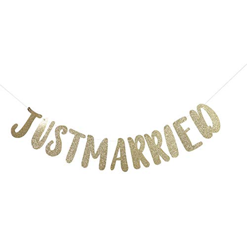 Pancarta de Moda para recién Casados, Pancarta con Letras del empavesado, para Decoraciones de Bodas, Accesorios para Fiestas, Adornos para Bodas,(Just Married-Golden)