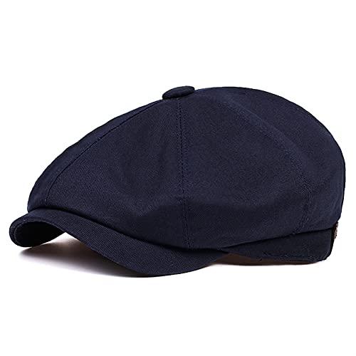 Fuxwlgs Berets Cotton Men's Newsboy hat Men's Twill Cotton Octagonal hat (Color : Navy, Hat Size : X-Large)