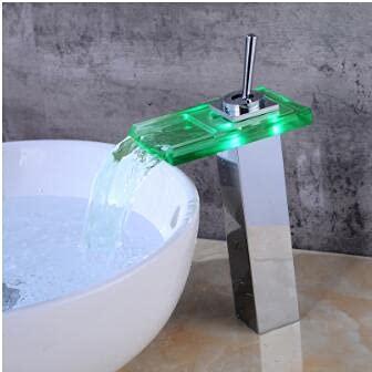 Grifo Grifo de lavabo, cubierta de cromo, grifo de lavabo de baño con control de temperatura, grifo de cascada, luz LED, mezclador de grúa eléctrica, grifo de agua