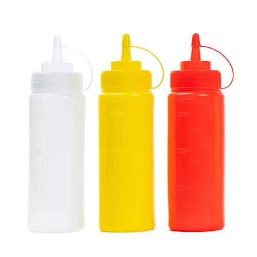 6 (Colorato 340ml) Flacone Dosatore con Tappi| Bottiglia Squeeze di Plastica, Dispenser per Salsa Condimento Ketchup Maionese Olio Sciroppo| a Prova di Perdite, Resistente e Senza BPA.