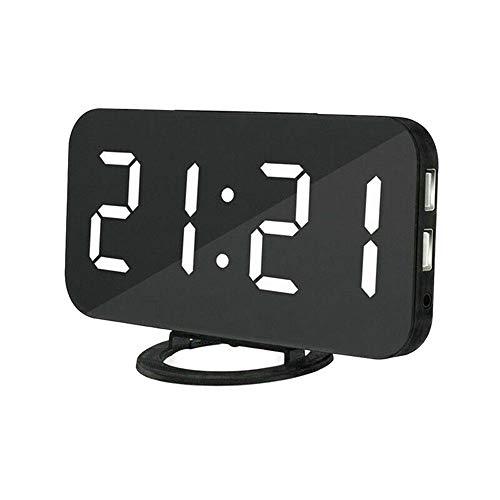 DIYARTS Spiegel Wecker Digital Dual USB Ausgang Lade Induktion Dimmen Snooze Clock für Büro Schlafzimmer (Black+White)