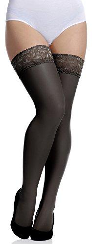 Merry Style Medias Autoadhesivas Tallas Grandes Plus Size Mujer MS 164 15 DEN (Negro, XL-XXL) (Ropa)