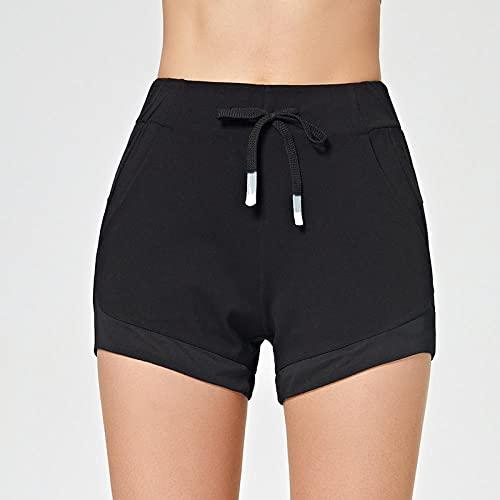GREQ Pantalones de Yoga para Mujer Nuevos Pantalones Cortos Deportivos Ajustados para Yoga, Pantalones Casuales para Mujer, piernas largas, Verano, Fitness, Correr, Pantalones de Tres Puntos-Black_L