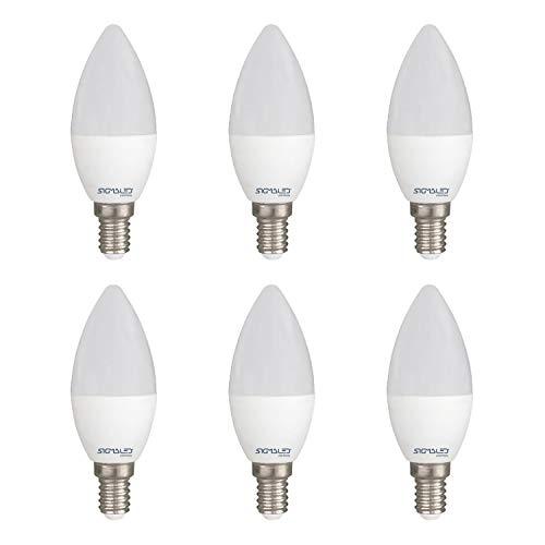 SIGMALED LIGHTING PACK 6 LAMPADINE LED E14 LUCE CALDA, 6W (=40W), 480 lumen. Lampadina piccola CANDELA C37 con luce bianca calda 2800K, Classe di efficienza energetica A+, Dimensioni 37x106mm