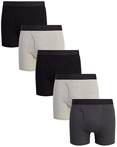 Van Heusen Men's 5 Pack Cotton Boxer Brief with Functional Fly (Black/Grey, Small)'