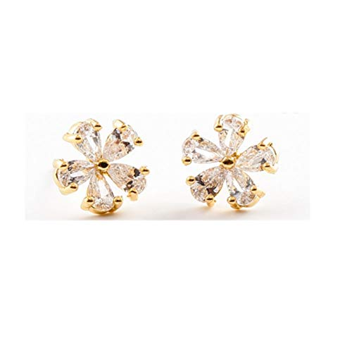 LDH 925 Sterling Silver Earrings For Girls Simple and Sweet Cherry Blossom Fashion Temperament Versatile Cubic Zirconia Stud Earrings (Color : Gold)