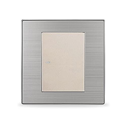 HLY-CASE 1 Gang Crossover Conmutador Interruptor de luz Intermedia Encendido/Apagado Interruptor de Pared Interruptor Plata Cepillado Panel Diseño Elegante (Color : Champagne)