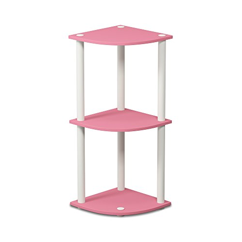 Furinno Turn-N-Tube 3-Tier Reversible Corner Display Rack Multipurpose Shelving Unit, Pink/White