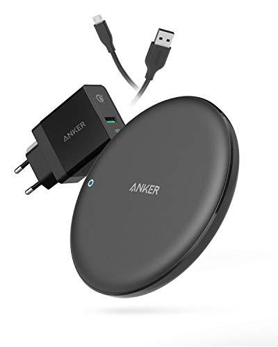 Anker PowerWave 7.5 Ladepad Wireless Charger, Starkes Kabelloses Ladegerät mit 7,5 W für iPhone X, iPhone 8/8 Plus, sowie mit 10 W für Samsung S9/S8/S8+/S7, Quick Charge 3.0 AC Adapter mit enthalten