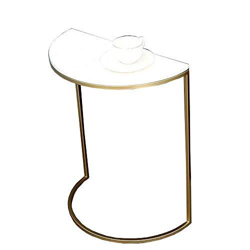 BaiHogi Mesa de cama, Tische Metall- / Marmor-Sofa-Beistelltisch, gegen den Wandtisch, halbkreisgold-Beistelltisch, mobiles Snack-Tischseitentisch für kleine Räume, 2colors Couchtisch