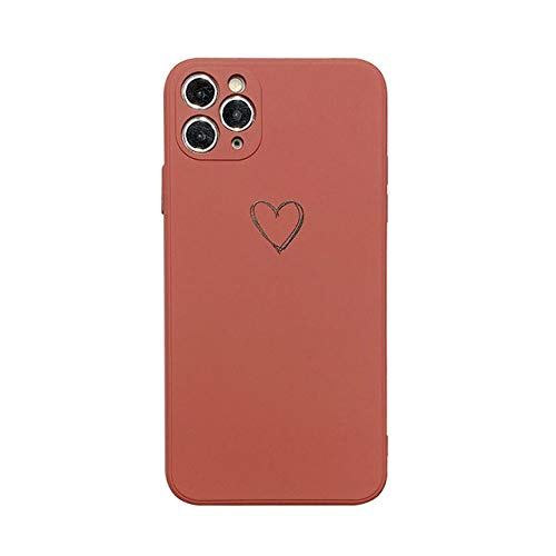 AAA&LIU Funda de Silicona líquida Love Heart para iPhone 11 Pro MAX X XR XS MAX Funda Trasera de Color sólido Suave para iPhone 7 8 Plus, Rojo Vino, para iPhone 11