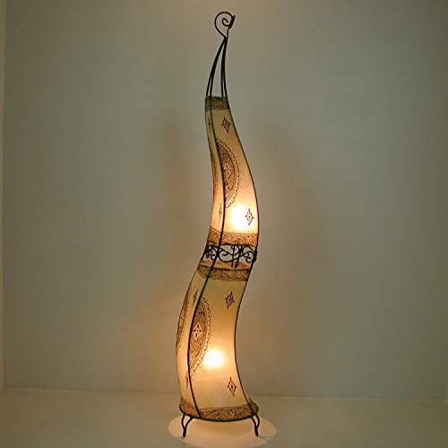 Orientalische Hennalampe marokkanische Stehlampe XXL Hissan H150 Natur | Kunsthandwerk aus Marrakesch | Handbemalte Lederlampe handgefertigte Hennaleuchte aus echtem Leder | L1056