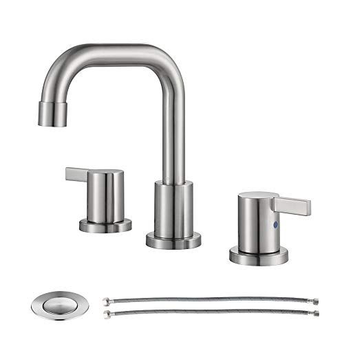 PARLOS Two-Handle Widespread Bathroom Faucet with Metal Pop-up Drain Assembly and cUPC Faucet Supply...