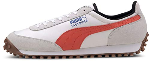 PUMA Fast Rider Sneaker, Puma White-Hot Coral, Men's 4 M US