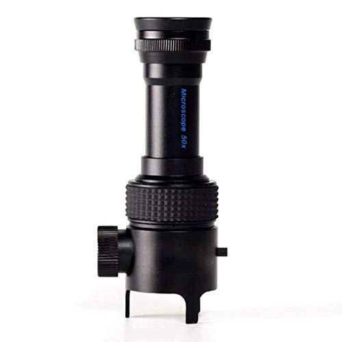 Vergrootglas 50 x met LED-lampen en microscoop sieraden op schaal barnsteen identificatie stempel magnifier, zwart