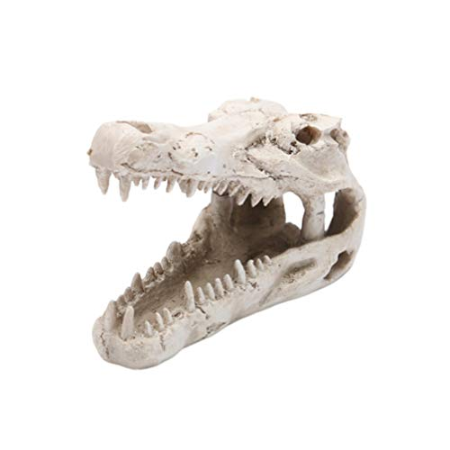 Balacoo Aquarium Harz Dekorationen Krokodil Kopf Knochen Landschaft Haustier Reptilienhaus